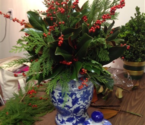 Traditional Christmas arrangement in blue and white porcelain